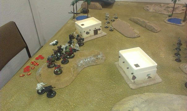 Khador setup. Mainly two waves clumped in the middle. Doom Reavers on left flank.